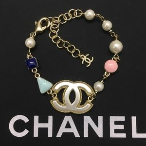 Chanel Glass Pearl Gold Tone Bracelet